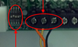RS485 terminals and DIP switches